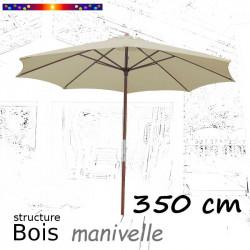Parasol Lacanau Soie Grège 350 cm structure Bois et manivelle vu de face
