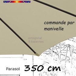Parasol Lacanau Soie Grège 350 cm structure Bois et manivelle : fourreau de la toile en bout de baleine