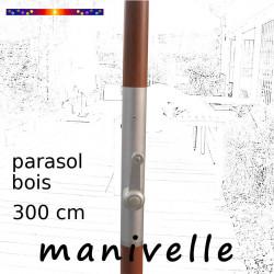 Parasol Lacanau Taupe 300 cm Bois Manivelle : détail de la manivelle