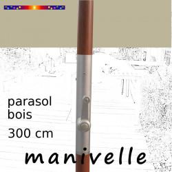 Parasol Lacanau Soie Grège 300 cm Bois Manivelle : détail de la manivelle