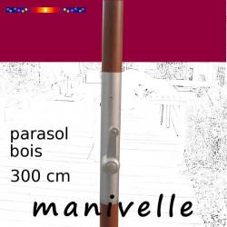 Parasol Lacanau Rouge Bordeaux 300 cm Bois Manivelle : détail de la manivelle