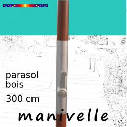 Parasol Lacanau Bleu Turquoise 300 cm Bois Manivelle : détail de la manivelle