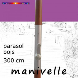 Parasol Lacanau Violette 300 cm Bois Manivelle : manivelle vue de face