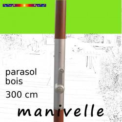 Parasol Lacanau Vert Lime 300 cm Bois Manivelle : détail de la manivelle
