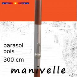 Parasol Lacanau Orange 300 cm Bois Manivelle : détail de la manivelle