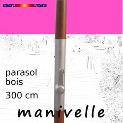 Parasol Lacanau Rose Fushia 300 cm Bois Manivelle : détail de la manivelle