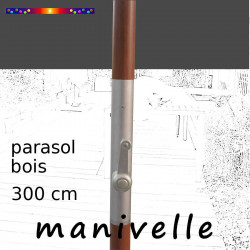 Parasol Lacanau Gris Souris 300 cm Bois Manivelle : détail de la manivelle