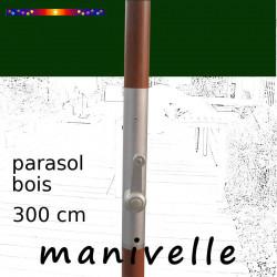 Parasol Lacanau Vert Pinède 300 cm Bois Manivelle : détail de la manivelle