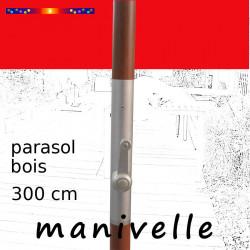 Parasol Lacanau Rouge Coquelicot 300 cm Bois Manivelle : détail de la manivelle