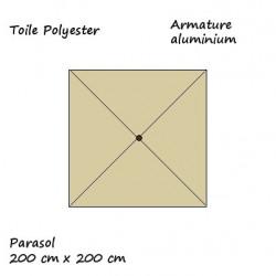 Parasol Lacanau Sable Greige 200 cm x 200 cm : descriptif