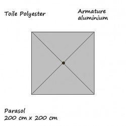 Parasol Lacanau Gris Souris 200 cm x 200 cm Aluminium : descriptif