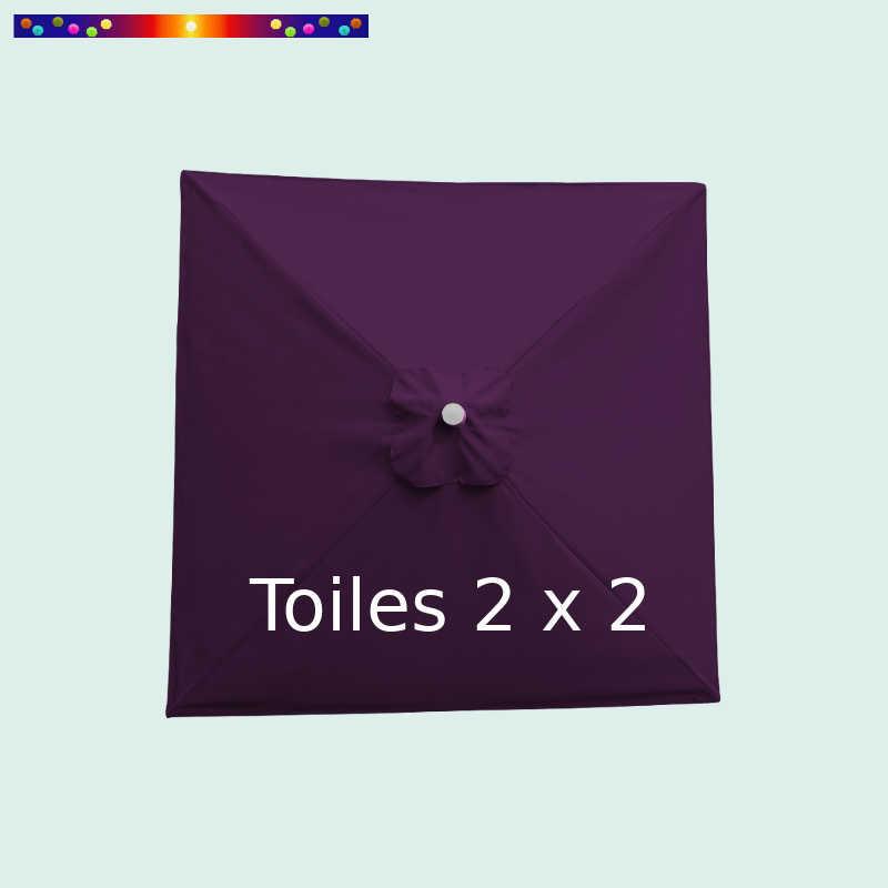 Toile de remplacement pour parasol carré 2x2 Violette : vue de dessus