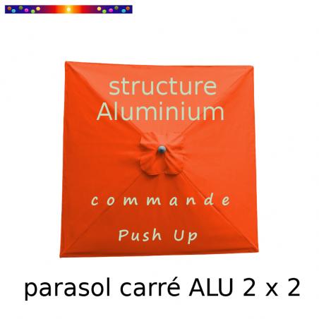 Parasol Lacanau Orange 200 x 200 cm Alu : Toile vue de dessus