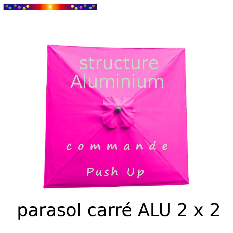 Parasol Lacanau Fushia 2 x 2  Alu : Toile vue de dessus