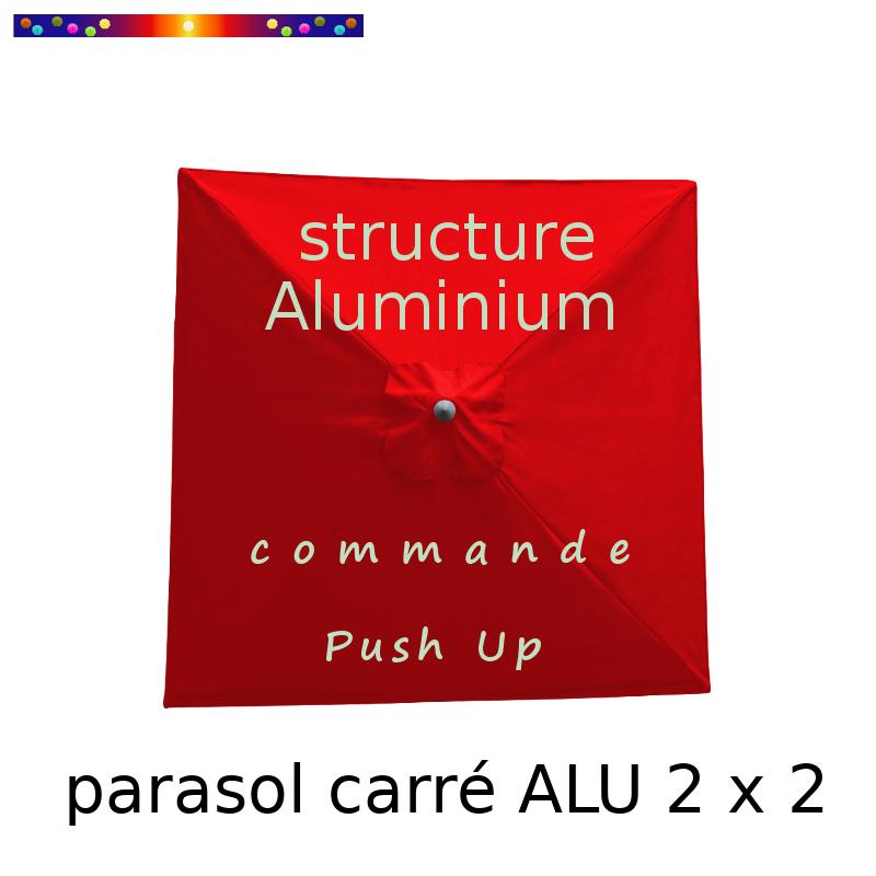 Parasol Lacanau Rouge Coquelicot 200 cm x 200 cm Alu