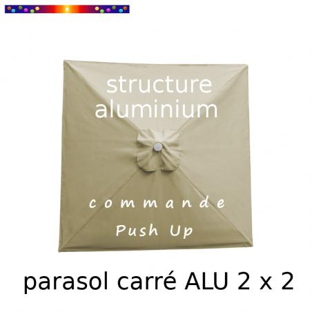 Parasol Lacanau Sable Grège 200 x 200 cm Alu : Toile vue de dessus