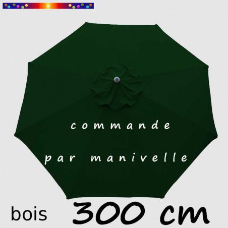 Parasol Lacanau Vert Pinède 300 cm Bois Manivelle