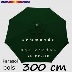 Parasol Lacanau Vert Pinède 300 cm Bois : Toile vue de dessus