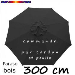 Parasol Lacanau Gris Souris 300 cm Bois : Toile vue de dessus