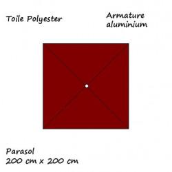 Parasol Lacanau Rouge Bordeaux 2 x 2 Aluminium : descriptif