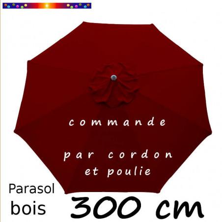 Parasol Rouge Bordeaux 300 cm : Toile vue de dessus