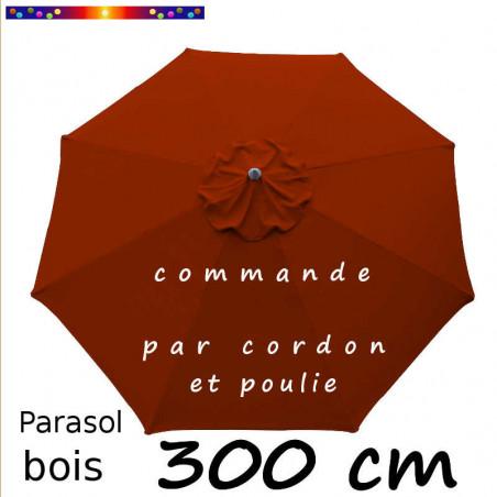 Parasol Lacanau Terracotta 300 cm Bois : Toile vue de dessus