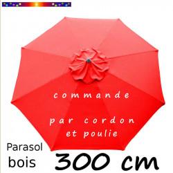 Parasol Lacanau Rouge Coquelicot 300 cm Bois