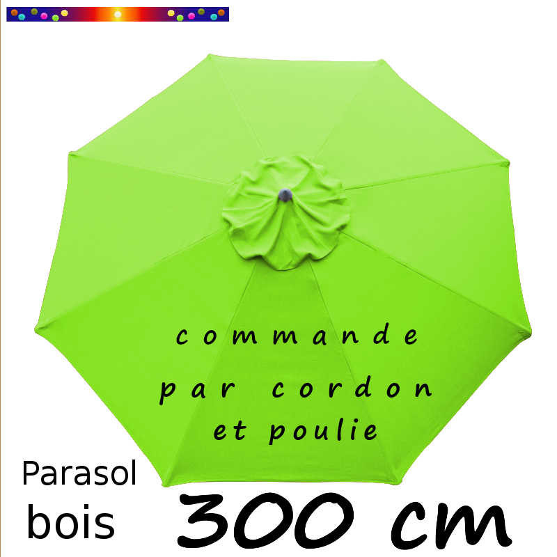 Parasol Lacanau  Vert Lime 300 cm Bois : Toile vue de dessus