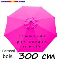 Parasol Lacanau Rose Fushia 300 cm Bois : Toile vue de dessus