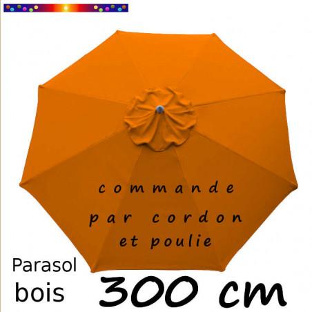 Parasol Lacanau Orange 300 cm : Toile vue de dessus
