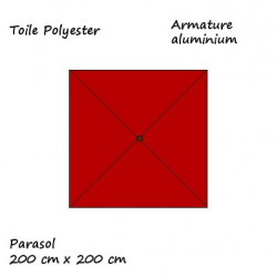 Parasol Lacanau Terracotta 200 cm x 200 cm : descriptif