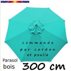 Parasol Lacanau Bleu Turquoise 300 cm Bois : Toile vue de dessus
