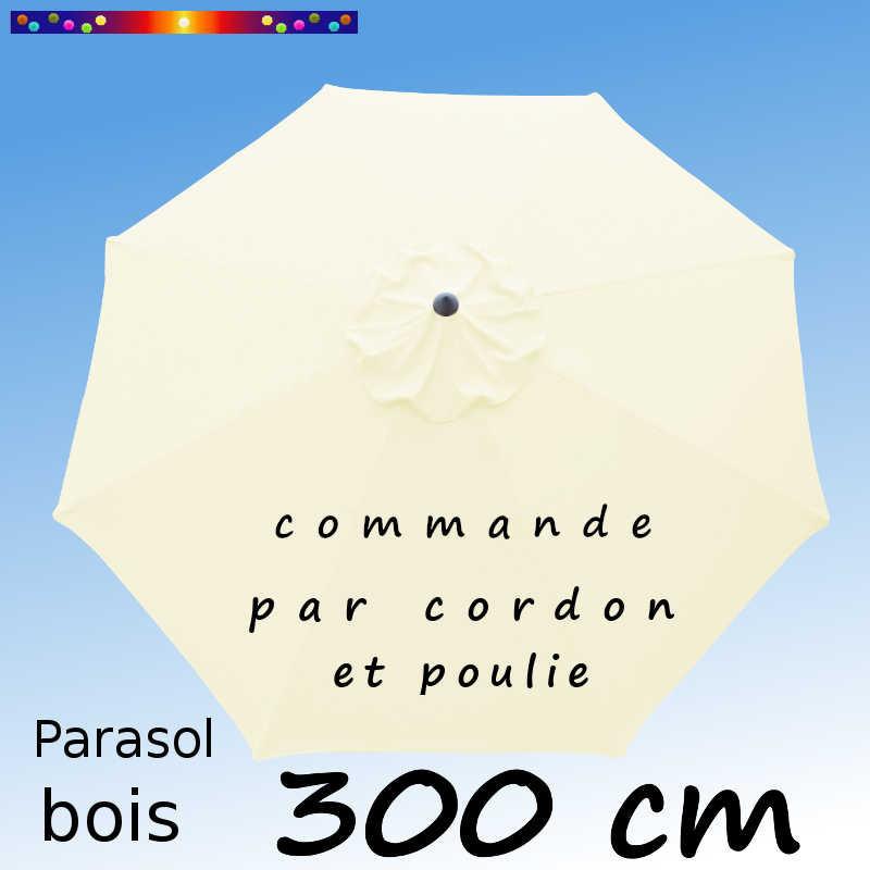 Parasol Lacanau Ecru Crème 300 cm Bois