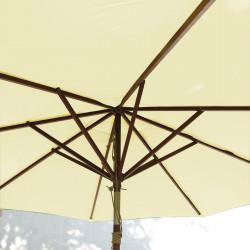 Parasol Lacanau Ecru Crème 300 cm Bois : vu de dessous
