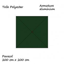 Parasol Lacanau Vert Pinède 200 cm x 200 cm Alu : descriptif