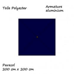 Parasol Lacanau Bleu Marine 200 cm x 200 cm aluminium : descriptif