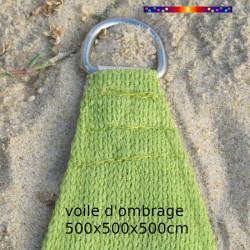 Voile Triangle 500 cm Vert Lime : détail de l'anneau inox