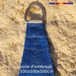 Voile Triangle 500 cm Bleu : detail de l'anneau inox pour fixation de la voile