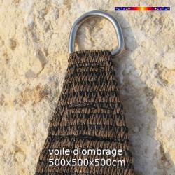 Voile Triangle 500 cm Chataigne : détail de l'anneau inox
