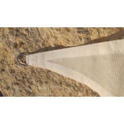 Voile Triangle 500 cm Blanc : détail de l'anneau inox pour la fixation