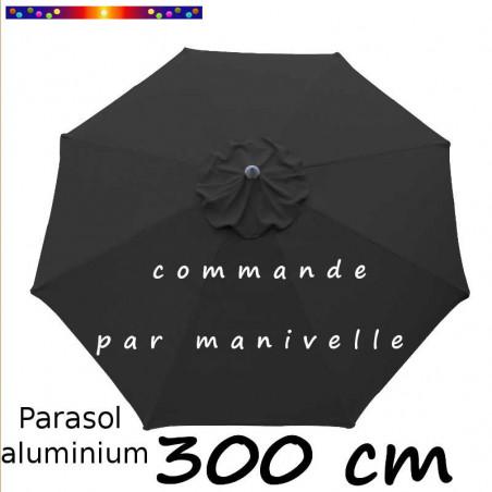 Parasol Lacanau rond (octogonal) Diamètre 300 cm en Aluminium à manœuvre par manivelle toile Gris Souris : parasol vu de dessus