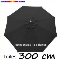 Toile de remplacement pour parasol 300 cm Gris Souris vue de dessus