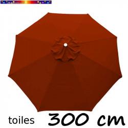 Toile de remplacement pour parasol 300 cm Rouge Terracotta vue de dessus