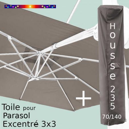 Pack Toile Taupe pour parasol Déporté 3x3 + Housse 235x70/140
