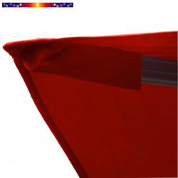 Toile de remplacement 3x3 pour Parasol Excentré Biscarrosse Rouge Bordeaux : détail du fourreau de fixation de la toile
