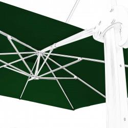 Toile 3x3 pour Parasol Biscarrosse Vert Forêt : vue de la toile sur l'armature