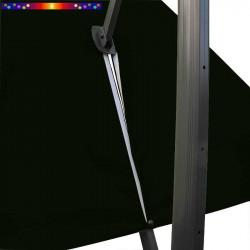 Toile 3x3 pour Parasol déporté Vert Forêt : vue du zip de la toile pour mise en place sur le mât