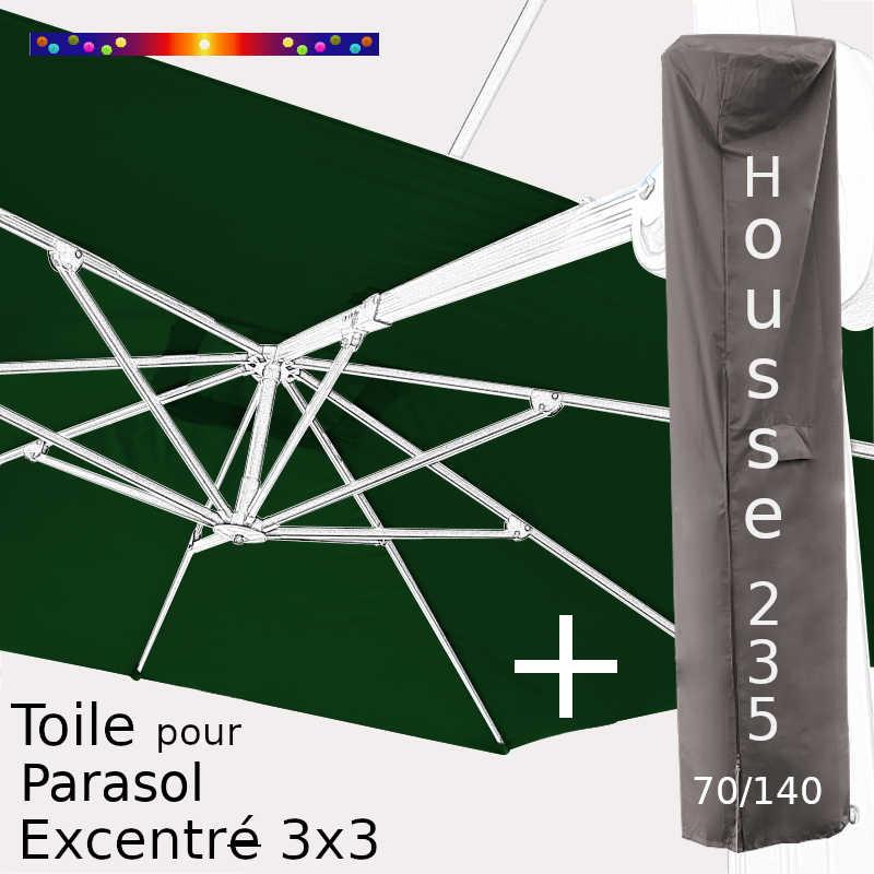 Pack : Toile Vert Pinède pour parasol Déporté 3x3 + Housse 235x70/140
