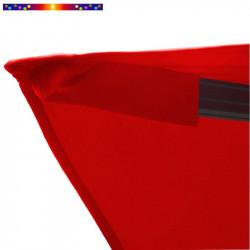 Toile de remplacement 3x3 pour Parasol Excentré Biscarrosse Rouge Coquelicot : détail du fourreau de fixation de la toile