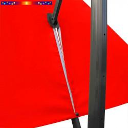 Toile de remplacement 3x3 pour Parasol Excentré Rouge Coquelicot : vue du zip de la toile pour mise en place sur le mât